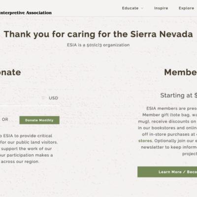 Eastern Sierra Interpretive Association Donation Splash Page