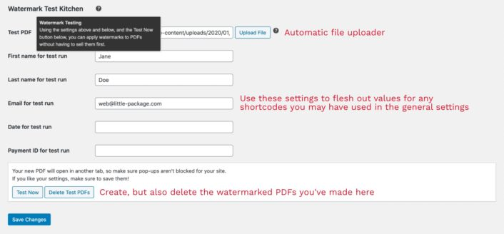 Settings for testing PDF watermarks