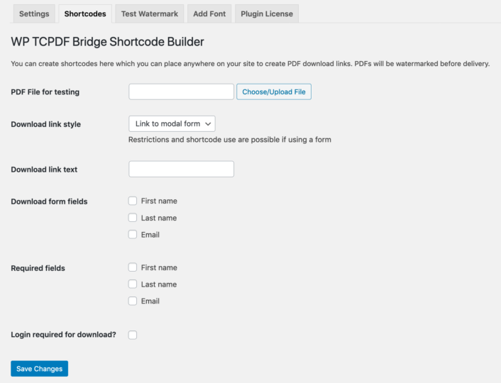 Shows the settings for the Shortcode tab of the TCPDF Bridge plugin