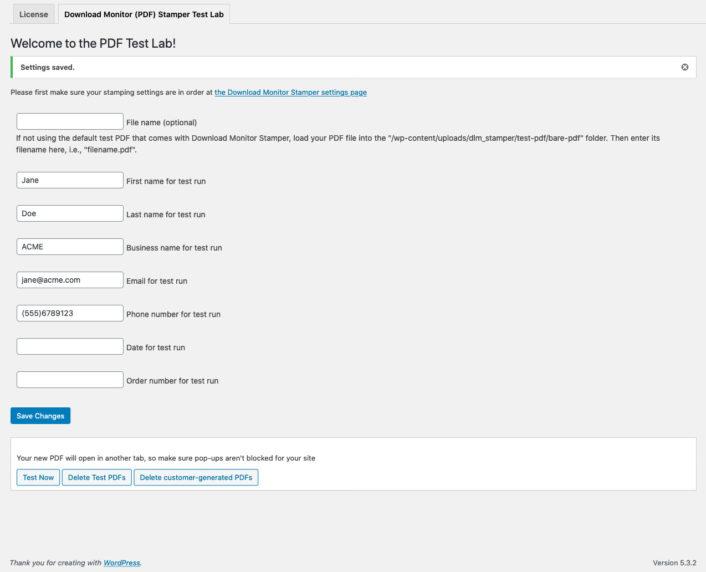 Download Monitor Stamper Test PDF maker settings